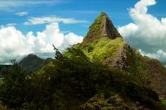 Oahu Pali Mountain Pinnacle under Cloudy Blue Sky. Pali Mountain looms above the lush tropical jungle on Oahu in the Hawaiian island chain. The NuÊ»uanu stock photos