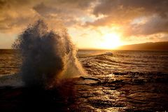 Oahu solnedgång Arkivfoto