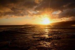 Oahu solnedgång Arkivbilder