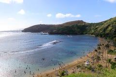 Oahus mest berömda strand, Hanauma fjärd, Oahu Hawaii arkivfoto