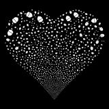 Oak Acorn Fireworks Heart. Oak Acorn fireworks with heart shape. Raster illustration style is flat white iconic symbols on a black background. Object stream Stock Photos