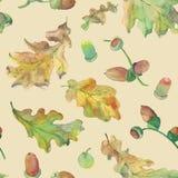 Oak and acorns pattern on beige vector illustration
