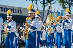 Oak Avenue Intermediate School Marching band of the famous Templ Royalty Free Stock Photos