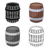 Oak barrel beer. A barrel in which beer is brewed. Pub single icon in cartoon style vector symbol stock illustration. Stock Photos