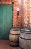 Oak barrel with brickwall background Stock Images