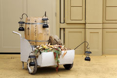 Oak barrel and cart. For wine beverage Royalty Free Stock Photos