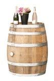 Oak barrel. Old oak wooden barrel and Champagne Stock Photos