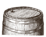 Oak barrel on a white background. sketch Stock Photo