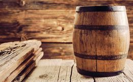 Oak barrel in wooden house room royalty free stock images
