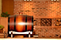 Oak barrel on wooden table Royalty Free Stock Image