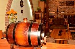 Oak barrel on wooden table Stock Photography