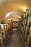 Oak barrels in a cellar Royalty Free Stock Photo