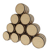 Oak barrels on isolated white in 3D illustration. Oak barrels set of ten on isolated white in 3D illustration Royalty Free Stock Images
