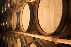 Oak barrels maturing red wine Stock Images