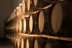 Oak barrels maturing red wine Stock Photo