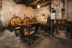Oak barrels in an old wine cellar. Royalty Free Stock Photo