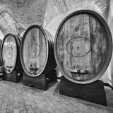 Oak barrels in an old wine cellar. Royalty Free Stock Photo