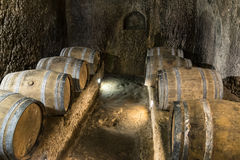 Oak barrels in an old wine cellar. Stock Images