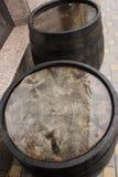 Oak barrels outside Royalty Free Stock Image