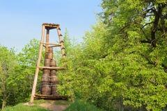 Oak barrels in pyramid form Stock Photo