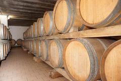 Oak barrels with red wine Stock Image