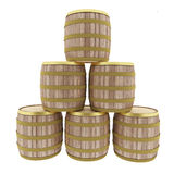 Oak barrels set on isolated white in 3D illustration Royalty Free Stock Images