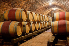 Oak barrels in a underground wine cellar Stock Images