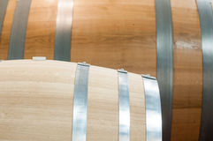 Oak barrels that are used to make the wine hone Royalty Free Stock Photos