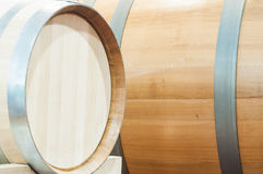 Oak barrels that are used to make the wine hone Stock Image