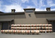 Oak barrels at the vineyard in Napa Valley Royalty Free Stock Photo
