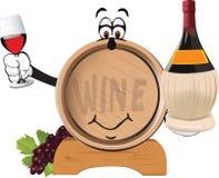 Oak barrels for wine cartoon Stock Photography
