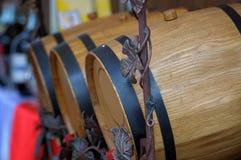 Oak barrels with wine Stock Photos