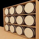 Oak barrels in wood store in 3D rendering. Set of oak barrels in wood store in 3D rendering Royalty Free Stock Photos
