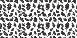 Oak black and white leaf silhouette seamless pattern stock images