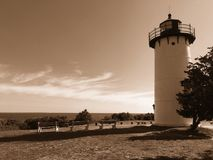 Oak Bluffs Lighthouse. Marthas Vineyard and seaside view with sepia tone Royalty Free Stock Images