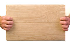 Oak boards in hand Royalty Free Stock Photography