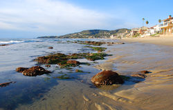 Oak/Brooks Street Beach Laguna Beach, CA. Image shows Brooks Street (foreground) Beach and Oak Sreet  Beach (middle) at extreme low tide in Laguna Beach Stock Photo