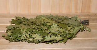 Oak broom. Broom for Russian bath a close up Royalty Free Stock Photo