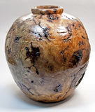 Oak Burl Vessel Vase Turned on Wood Lathe Royalty Free Stock Photography