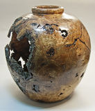 Oak Burl Vessel Vase Turned on Wood Lathe Stock Image