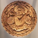 Oak carving head of King James V, Stirling Castle Scotland. Stirling Castle, Scotland - May 19 2018: Replica head of King James V. The original oak carving is on royalty free stock photography