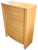 Oak Chest of Drawers. Contemporary Oak Chest of Drawers in Golden Finish Stock Photography