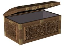 Oak chest Partly Open Royalty Free Stock Photography