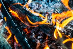Grill coals and heat from firewood Royalty Free Stock Photography