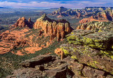 Oak Creek Canyon. A view of red sandstone rock formations in Oak Creek Canyon Sedona, AZ at sunset Royalty Free Stock Images