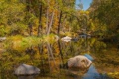 Oak Creek in Fall. Fall foliage reflected in scenic oak creek canyon near sedona arizona in fall Stock Images