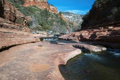 Oak Creek at Rock Slide State Park in the Coconino National Fore. Winter image of Oak Creek at Rock Slide State Park in the Coconino National Forest near Sdeona Royalty Free Stock Photography