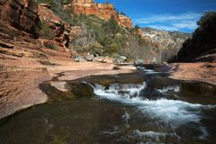 Oak Creek at Rock Slide State Park in the Coconino National Fore. Winter image of Oak Creek at Rock Slide State Park in the Coconino National Forest near Sdeona Stock Image