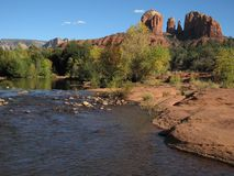 Oak Creek and Cathedral Rock, Sedona Arizona Stock Photo