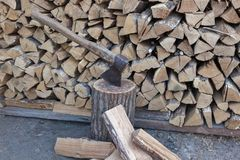 Oak firewood stacked in a pile. royalty free stock photography